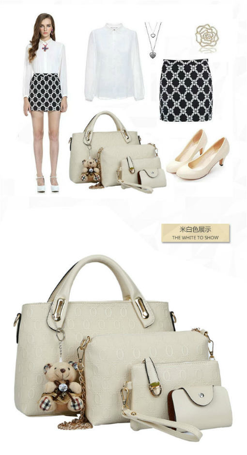 B066-(4in1) IDR.205.000 MATERIAL PU SIZE BIG-L32XH23CM,MEDIUM-L28XH18CM WEIGHT 1200GR COLOR BEIGE