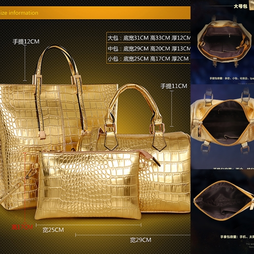 B1000-(3in1) IDR.255.000 MATERIAL PU SIZE BIG-L30XH35,MEDIUM-L29XH23,SMALL-L25XH17CM WEGHT 1400GR COLOR GOLD