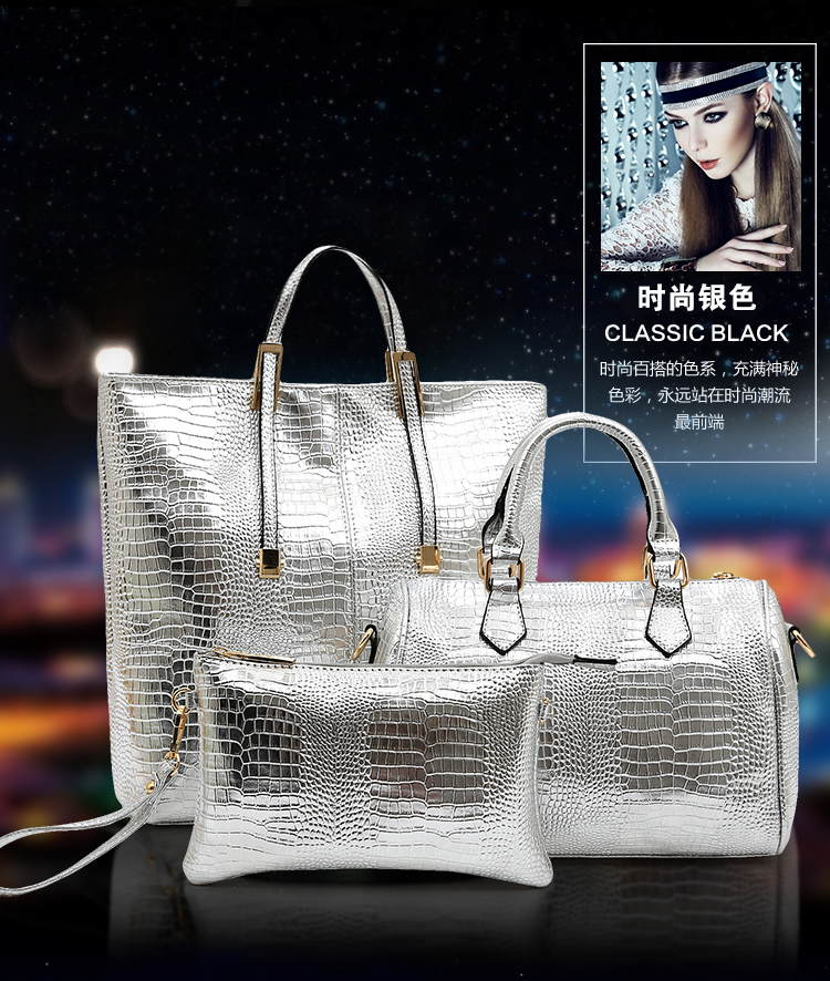 B1000-(3in1) IDR.255.000 MATERIAL PU SIZE BIG-L30XH35,MEDIUM-L29XH23,SMALL-L25XH17CM WEGHT 1400GR COLOR SILVER