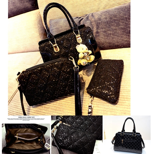 B1041(3in1) IDR.239.000 BAHAN PU+SEQUIN SIZE BIG L33XH23XW11CM BERAT 1000GR COLOR BLACK