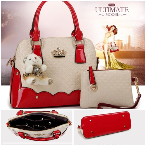 B1134-(2in1) IDR.200.000 MATERIAL PU SIZE L31XH22XW14CM WEIGHT 900GR COLOR RED