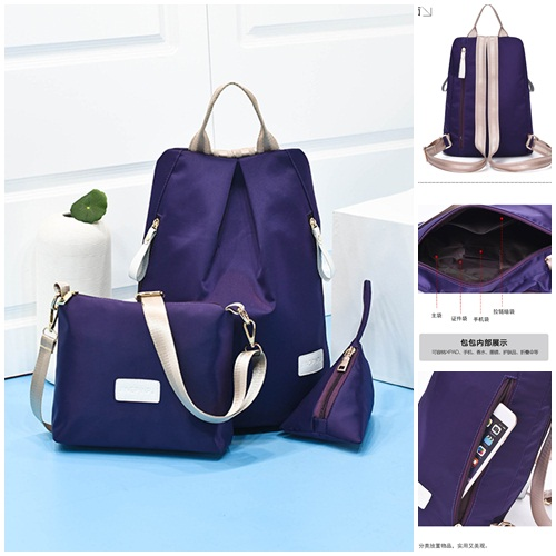 B1501-(3in1) IDR.154.000 MATERIAL NYLON SIZE L28XH35XW17CM WEIGHT 500GR COLOR PURPLE