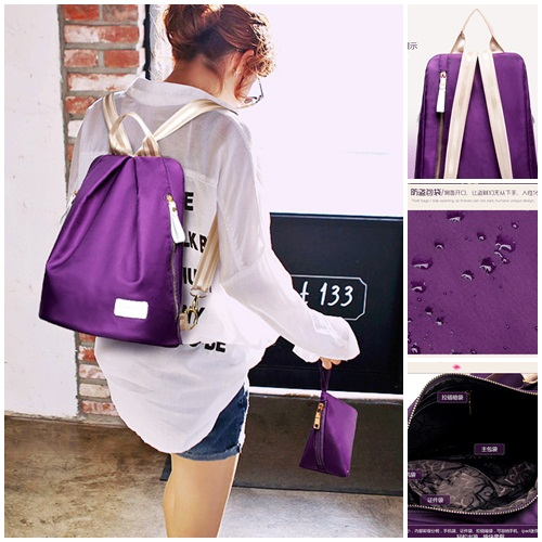 B1583 IDR.170.000 MATERIAL NYLON SIZE L35XH26XW18CM WEIGHT 600GR COLOR PURPLE