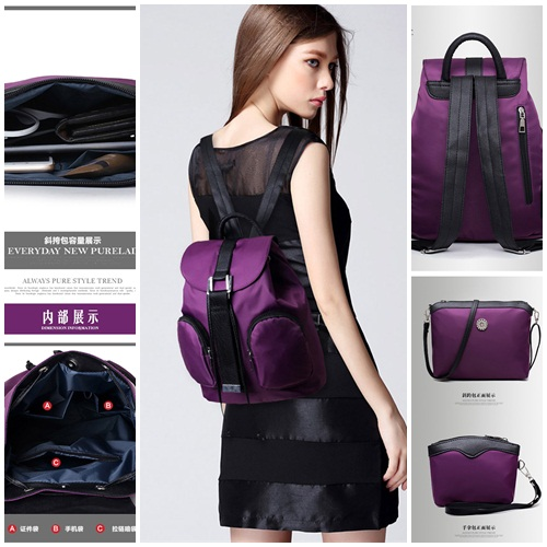 B1861-(3in1) IDR.190.000 MATERIAL CANVAS SIZE L28XH31XW17CM WEIGHT 800GR COLOR PURPLE