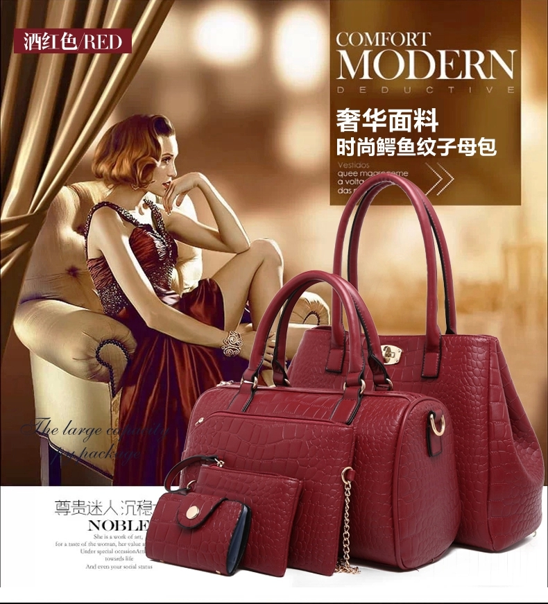 B378-(5in1) IDR.220.000 TAS FASHION MATERIAL PU SIZE BIG-L33XH25XW13CM,MEDIUM-L30XH20XW11CM WEIGHT 1300GR COLOR RED