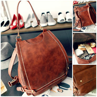 B521 IDR.195.000 MATERIAL PU SIZE L32XH29XW13CM WEIGHT 900GR COLOR DARKBROWN