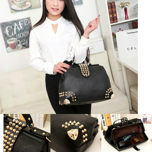 B722 IDR.203.000 BAHAN PU SIZE L36XH26XW15CM BERAT 900GR COLOR BLACK (WITH LONG STRAP)
