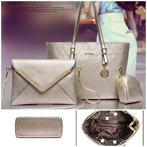 B7776-(3in1) IDR.215.000 TAS FASHION MATERIAL PU SIZE L33XH26XW15CM WEIGHT 1100GR COLOR GOLD