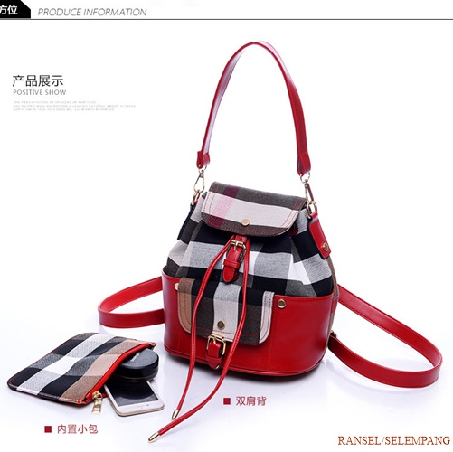 B797-(2in1) IDR.205.000 MATERIAL CANVAS SIZE L25XH27XW10CM WEIGHT 650GR COLOR RED