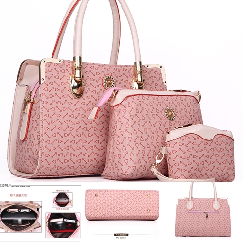 B903(3in1) IDR.239.000 MATERIAL PU SIZE BIG L33XH24, MEDIUM L23XH17, SMALL L14XH12CM WEIGHT 1450GR COLOR PINK