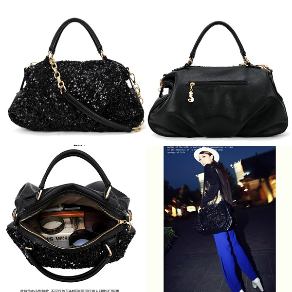 B9103 IDR.155.000 MATERIAL PU+SEQUIN SIZE L42XH28XW12CM WEIGHT 850GR COLOR BLACK