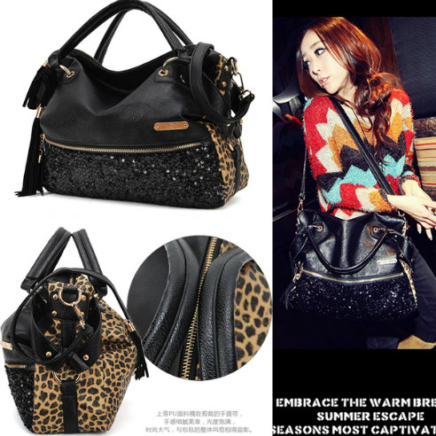 B9106 IDR.168.000 MATERIAL PU+SEQUIN SIZE L37XH35XW12CM WEIGHT 700GR COLOR LEOPARD