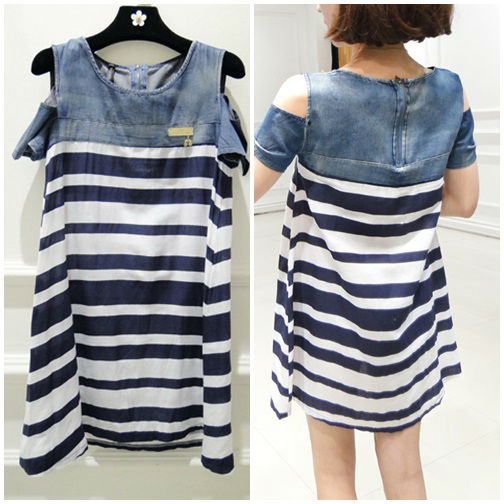 D36210 IDR.148.000 MATERIAL DENIM+COTTON SIZE M LENGTH 80CM BUST 96CM WEIGHT 250GR COLOR AS PHOTO