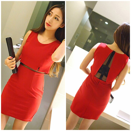 D7796 IDR.135.000 MATERIAL COTTON LENGTH80CM BUST82CM-WAIST70CM WEIGHT 250GR COLOR RED