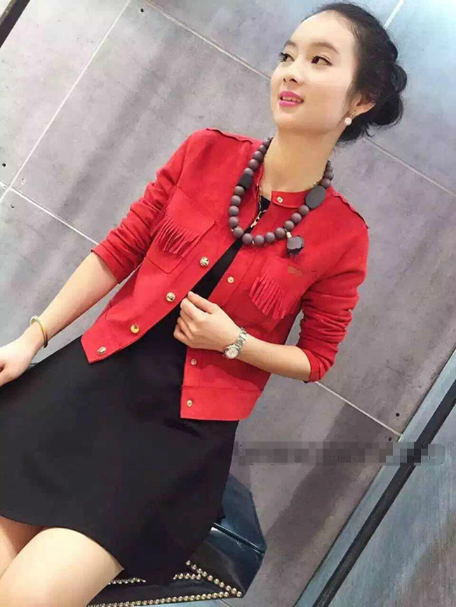 J1687 IDR.142.000 MATERIAL SUEDE-SIZE-M,L-LENGTH49CM,50CM-BUST90CM,94CM WEIGHT 300GR COLOR RED