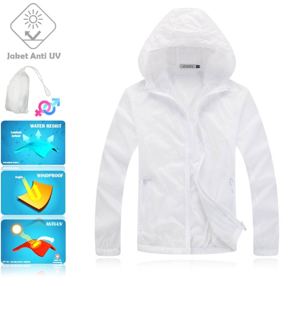 JUV001 IDR 125.000 JAKET UNISEX BAHAN POLYESER ANTI UV SIZE M, L, XL, XXL WEIGHT 100GR COLOR WHITE
