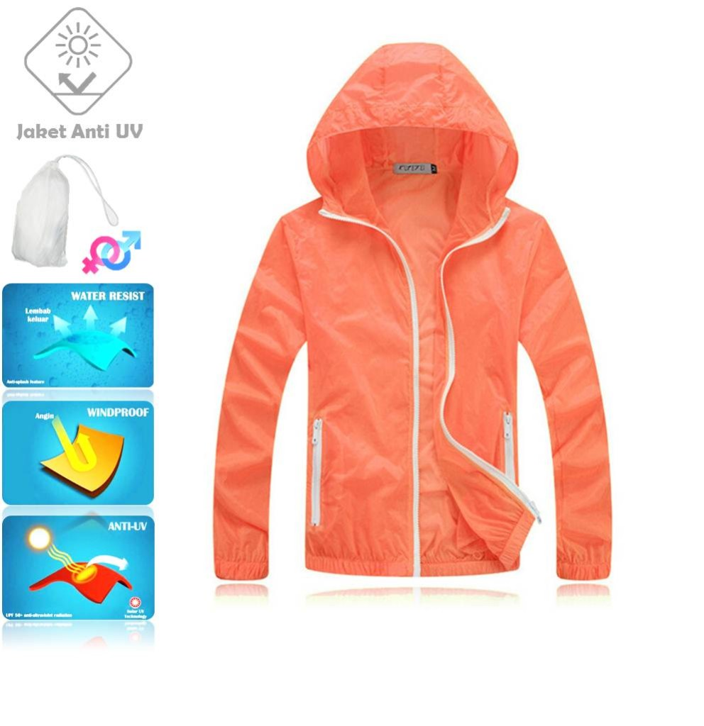JUV002 IDR 125.000 JAKET UNISEX BAHAN POLYESER ANTI UV SIZE XL, XXL WEIGHT 100GR COLOR ORANGE