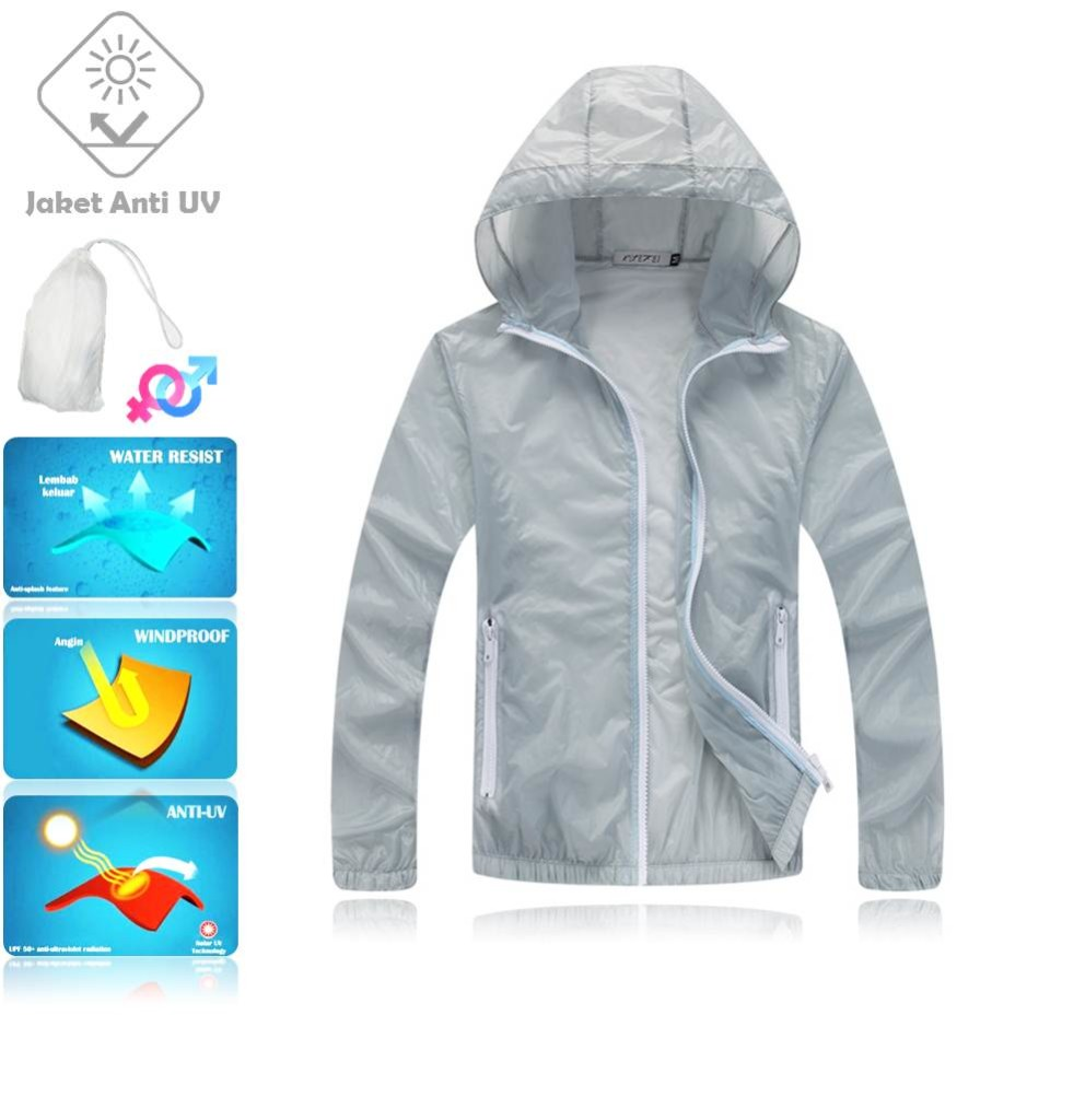 JUV003 IDR 125.000 JAKET UNISEX BAHAN POLYESER ANTI UV SIZE M, L, XL, XXL WEIGHT 100GR COLOR GRAY