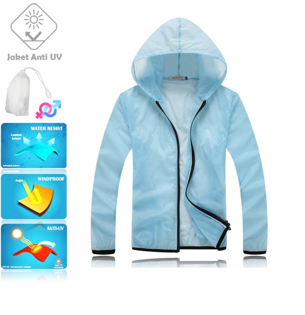 JUV004 IDR 125.000 JAKET UNISEX BAHAN POLYESER ANTI UV SIZE M, L, XL, XXL WEIGHT 100GR COLOR LIGHT BLUE