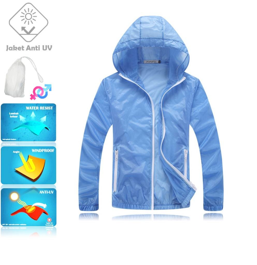 JUV005 IDR 125.000 JAKET UNISEX BAHAN POLYESER ANTI UV SIZE M, L, XL, XXL WEIGHT 100GR COLOR BLUE