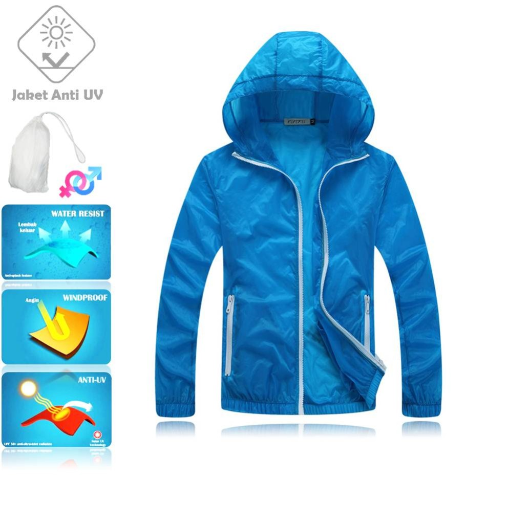 JUV006 IDR 125.000 JAKET UNISEX BAHAN POLYESER ANTI UV SIZE M, L, XL, XXL WEIGHT 100GR COLOR DARK BLUE