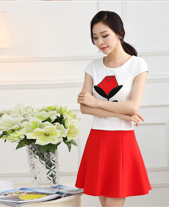 LS36297 IDR.168.000 MATERIAL COTTON SIZE M,L-LENGTH-TOP49CM,50CM-SKIRT44CM,45CM-BUST84CM,88CM-WAIST70CM,74CM WEIGHT 350GR COLOR RED