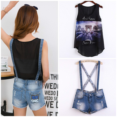 LS36710(1SET) IDR.122.000 MATERIAL DENIM+CHIFFON SIZE 27,28,29-LENGTH-45CM,45CM,46CM-WAIST70CM,74CM,78CM WEIGHT 300GR COLOR ASPHOTO