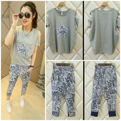 LS37807-1SET IDR.132.000 MATERIAL COTTON SIZE M,L-LENGTH-TOP61CM,63CM-PANT76CM,78CM-BUST102CM,104CM-WAIST55-66CM,60-70CM WEIGHT 300GR COLOR GRAY