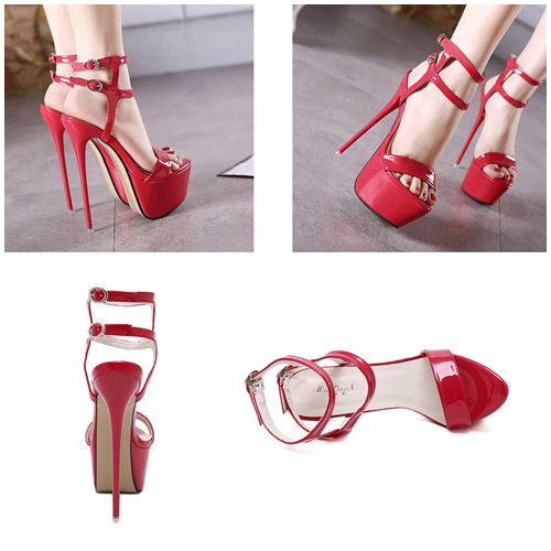 SH1662 IDR.235.000 MATERIAL PU-HEEL-17CM COLOR RED SIZE 36,37,38,39,40