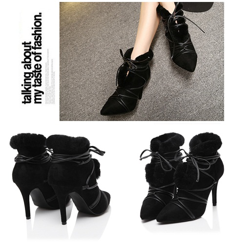 SH1752 IDR.265.000 MATERIAL PLUSH-HEEL-9.5CM COLOR BLACK SIZE 35,36,37,38,39