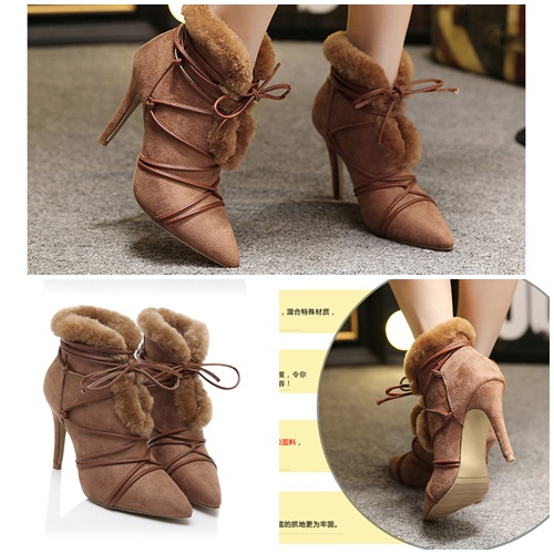 SH1752 IDR.265.000 MATERIAL PLUSH-HEEL-9.5CM COLOR BROWN SIZE 35,36,37,38,39