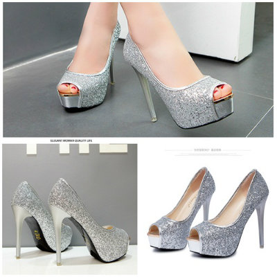 SH18883 IDR.248.000 MATERIAL GLITTER-HEEL-4CM,12CM COLOR SILVER SIZE 35,36,37,38,39