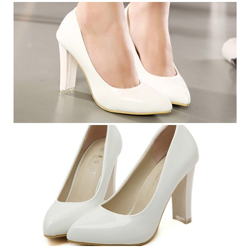 SH2061 IDR.215.000 MATERIAL PU HEEL 9.5CM COLOR WHITE SIZE 36,37,38,39