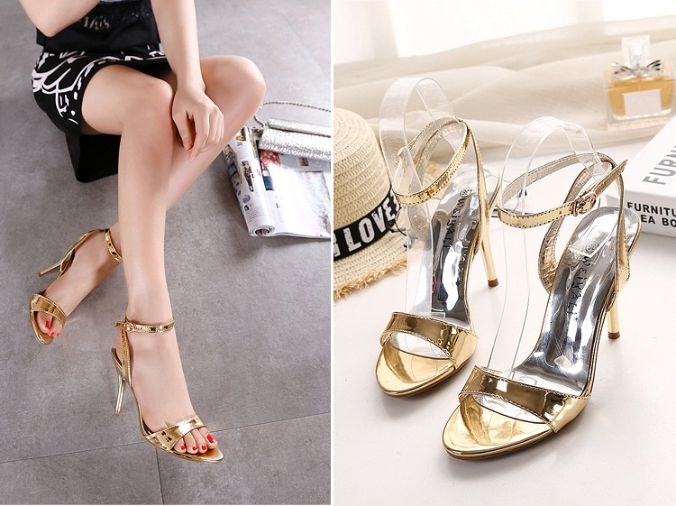 SH2158 IDR.205.000 MATERIAL PU-HEEL-10CM COLOR GOLD SIZE 35,36,37,38,39