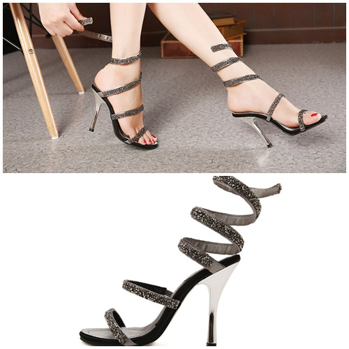 SH231 IDR.268.000 MATERIAL PU HEEL 11CM COLOR GRAY SIZE 36,37,38,39