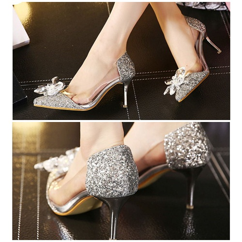 SH2580 IDR.232.000 MATERIAL PU HEEL 7.5CM COLOR SILVER SIZE 35,36,37,38,39