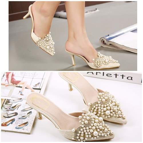 SH2582 IDR.260.000 MATERIAL PU HEEL 8.5CM COLOR APRICOT SIZE 35,36,37,38,39