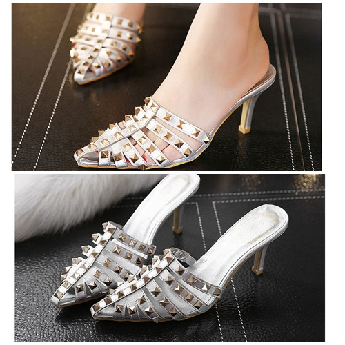 SH2586 IDR.235.000 MATERIAL PU HEEL 8CM COLOR SILVER SIZE 35,36,37,38,39