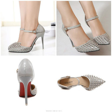 SH3251 IDR.235.000 MATERIAL PU-HEEL-10.5CM COLOR GRAY SIZE 35,36,37,38,39
