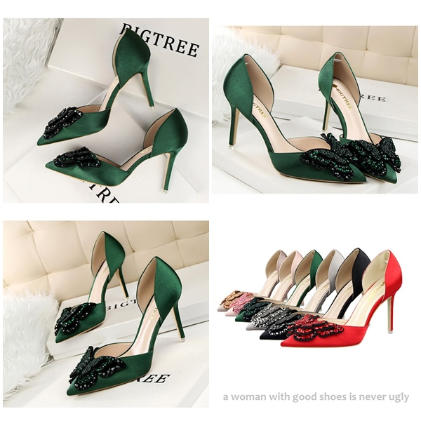 SH5203 IDR.255.000 MATERIAL PU HEEL 9CM COLOR GREEN SIZE 35,36,37,38,39
