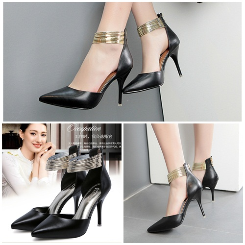 SH5205A IDR.242.000 MATERIAL PU-HEEL-9CM COLOR BLACK SIZE 36,37,38,39