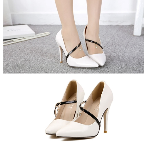 SH6057 IDR.215.OOO MATERIAL PU HEEL 10.5CM COLOR WHITE SIZE 36,37,38,39