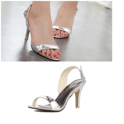 SH7253 IDR.201.000 MATERIAL PU HEEL 8CM COLOR SILVER SIZE 35,36,37,38,39
