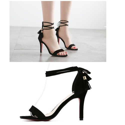 SH81513 IDR.205.000 MATERIAL CLOTH-HEEL-9CM COLOR BLACK SIZE 36,37,38,39