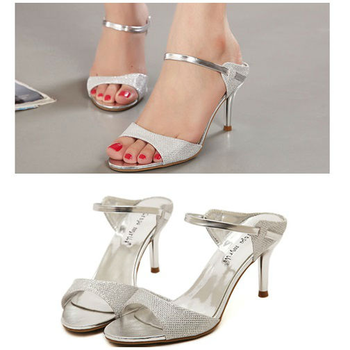 SH8256 IDR.199.000 MATERIAL PU HEEL 7CM COLOR SILVER SIZE 35,36,37,38,39