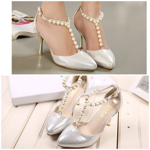 SH9055 IDR.225.000 MATERIAL PU HEEL 8.5CM COLOR SILVER SIZE 35,36,