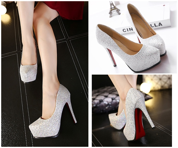 SHH10162 IDR.220.000 MATERIAL PU HEEL 12.5CM COLOR SILVER SIZE 35,36,37,38,39