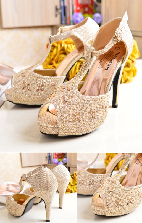 SHH1181 IDR. 190.000 MATERIAL PU HEEL 10.5CM COLOR GOLD SIZE 35,36,37,38,39