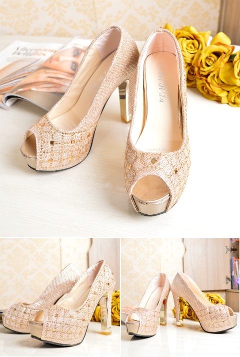 SHH33831 IDR. 190.000 MATERIAL PU HEEL 11.5CM COLOR GOLD SIZE 35,36,37,38,39