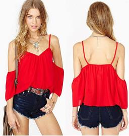 T36659 IDR.100.000 MATERIAL CHIFFON-SIZE-M-LENGTH52CM-BUST82CM WEIGHT 150GR COLOR RED